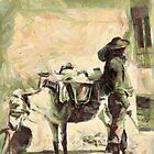 A digital painting of a Watercarrier, with donkey carrying water jugs 19th century by Dennis Melling