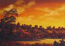 Sunset Over River by John Cocoris