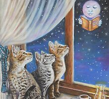 Whimsical Cat Painting -  Moon Tales by AlessandraArt