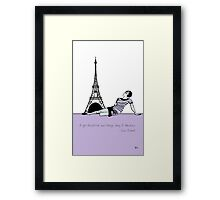 """1920s Coco Chanel  with Quote """" A Girl should be two things Classy and Fabulous"""" Framed Print"""
