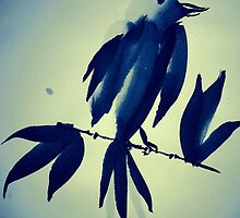 Sumi-e Indigo Bird Study by Kiwi-Fur