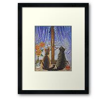 Cat Art - Cats Watching the Snow Fall Framed Print