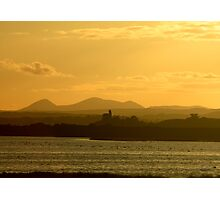Twilight over Derryveagh mountains - with O'Doherty Castle from Inch Level Photographic Print