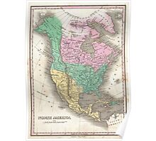 Vintage Map of North America (1827) Poster