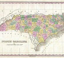 Vintage Map of North Carolina (1827) by BravuraMedia