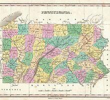 Vintage Map of Pennsylvania (1827) by BravuraMedia