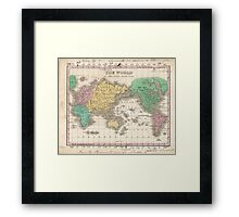 Vintage Map of The World (1827) Framed Print
