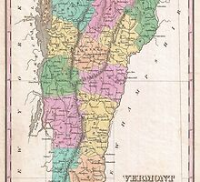 Vintage Map of Vermont (1827) by BravuraMedia
