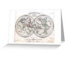 Vintage Map of The World (1848)  Greeting Card
