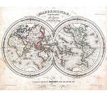 Vintage Map of The World (1848)  Photographic Print