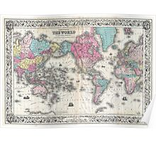 Vintage Map of The World (1852) Poster
