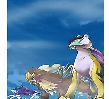 3 Legendary Beasts Tablet, Pillow and T shirt by TomsTops