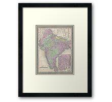Vintage Map of India (1853) Framed Print