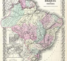 Vintage Map of Brazil (1855) by BravuraMedia
