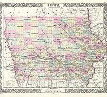 Vintage Map of Iowa (1855) by BravuraMedia