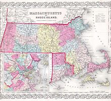 Vintage Massachusetts and Rhode Islands Map (1855) by BravuraMedia