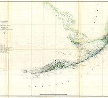 Vintage Map of The Florida Keys (1859) by BravuraMedia