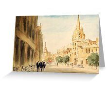 Oxford Students In The High Street Greeting Card