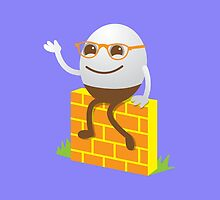 Cute Humpty Dumpty on a brick wall by jazzydevil