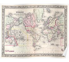 Vintage Map of The World (1864) Poster