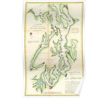 Vintage Map of The Puget Sound (1867) Poster