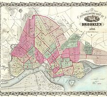 Vintage Map of Brooklyn (1868) by BravuraMedia