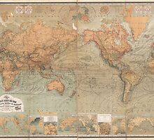 Vintage Map of The World (1870) by BravuraMedia