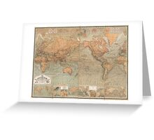 Vintage Map of The World (1870) Greeting Card