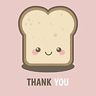 Happy Kawaii Slice of Bread Thank You Card by Lisa Marie Robinson