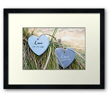 two love hearts on grassy dunes Framed Print