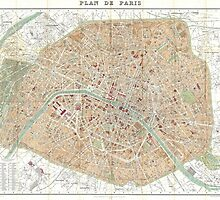 Vintage Map of Paris (1892) by BravuraMedia