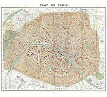 Vintage Map of Paris (1892) Photographic Print