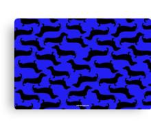 Dachund Sillhouette Blue Canvas Print