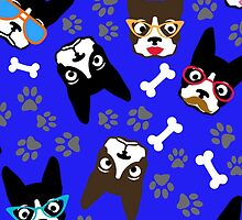 Boston Terrier Funny Faces Blue by WaggSwagg