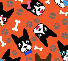 Boston Terrier Funny Faces Orange by WaggSwagg