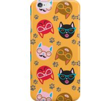 Cat Funny Faces Gold iPhone Case/Skin
