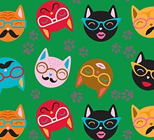 Cat Funny Faces Green by WaggSwagg