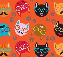Cat Funny Faces Orange by WaggSwagg