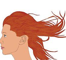 Redhead With Flowing Hair by stewartwarner