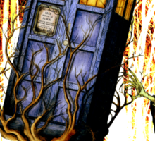 Haunted Blue Phone Box captured By witch Sticker