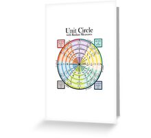 Unit Circle with Radian Measures Greeting Card