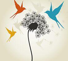 Birds a flower by Aleksander1