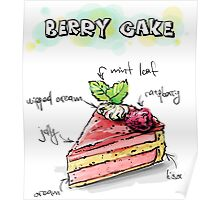Berry Cake Illustration with Ingredients Poster