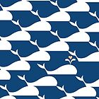 Whale pattern in Blue Ocean by carmanpetite