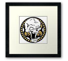 Gold Revolver Skull Framed Print