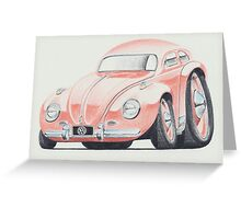 VW Beetle in Pink by Glens Graphix Greeting Card