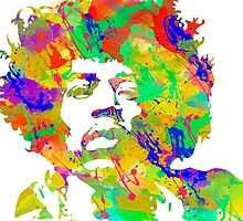 Jimi Hendrix Watercolor portrait by chris2766