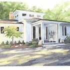 Sun and shadow house watercolor by Mike Theuer