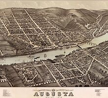 Vintage Pictorial Map of Augusta Maine (1878)  by BravuraMedia