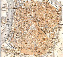 Vintage Map of Antwerp Belgium (1905) by BravuraMedia